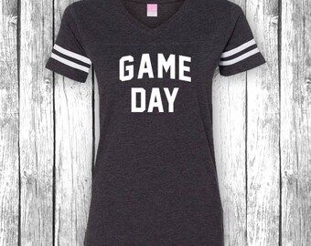 Spiel Tag | Spieltag-Shirts, Heckklappe, lustige Fußball-t-Shirt, Superbowl, Touchdown, Heckklappe V-Ausschnitt Jersey Womens Shirt T-Shirt