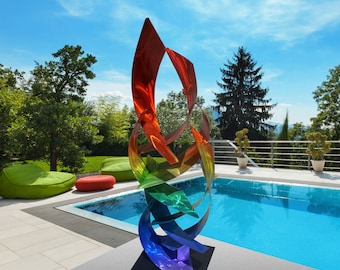 "Contemporary Modern Abstract Metal Indoor Outdoor Nautical Sculpture Rainbow ""Tempest"" by Dustin Miller"