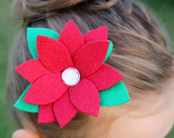 Felt Flower Barrette, Felt Flower Hair Clip, Felt Flower Hair Bow, Girl's Flower Barrette, Felt Flower, Girl's Barrette, Flower Barrette
