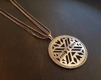 Boho necklace, long necklace, geometric pendant, cz crystals, statement necklace