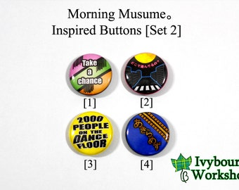 J-Pop / Hello! Project / Morning Musume Inspired 1-Inch Pinback Buttons [Set 2]