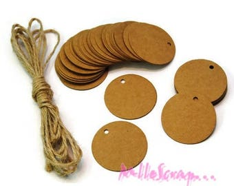 Set of 10 tags round paper craft scrapbooking card making embellishment *.
