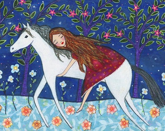 Horse Painting Art Print, Girl and Horse Illustration, Mixed Media Painting for Children Decor