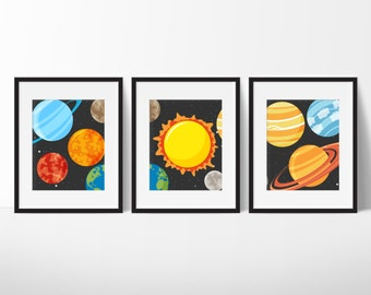 Planet Prints  - Solar System - Boy or Girls Room Decor - Outer Space Playroom - Planet Decor - Outer Space Decor - Set of 3 prints