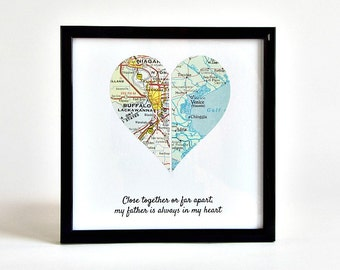 Gift for Father's Day, Gift for Long Distance Dad, Long Distance Father and Daughter, Long Distance Parents, Framed Map Heart, Birthday Gift