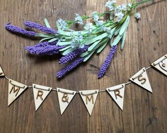 Wedding Bunting, Mr and Mrs Bunting, Wedding Flags, Celebration Bunting, Wedding Favours, Wedding Decoration, Letter Bunting, Rustic Garland