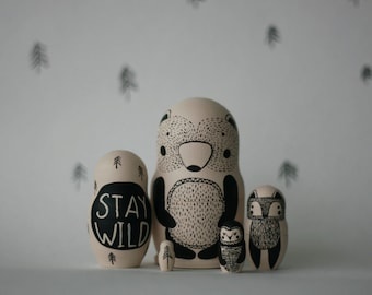 STAY WILD set of 5 black and white wooden handpainted russian nesting dolls / matryoshka dolls / babushka dolls - bear, fox and owl