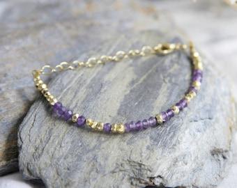 Amethyst Bracelet, Amethyst Gold Bracelet, Gold and Purple Boho Bracelet, Amethyst Boho Bracelet Gold Amethyst Bracelet Gold Nugget Bracelet