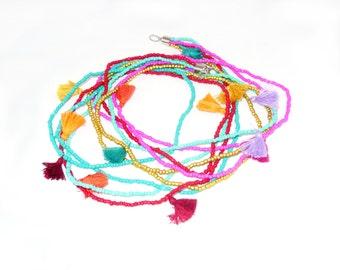 Boho, Gypsy, Multi Tassel Necklace, Handmade Tassel, Necklace Tassel, Mini Tassel Necklac, Neon tiny tassels, Seed Bead Necklace Tiny Tassel