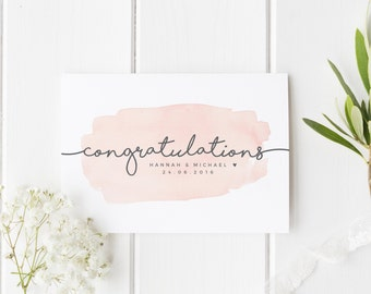 Personalized Wedding Card, Newly Married Couple Greeting Card, Watercolour Congratulations Wedding Card, Personalised Wedding, Happy Couple