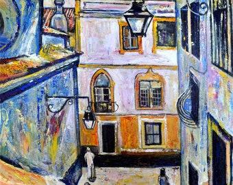Cityscape acrylic painting, Heat in Evora, ORIGINAL, Portugal painting, Vintage town, Architecture, landscape, wall art, decor, Alex Solodov