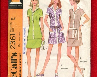 1970's McCalls 2361 Modern Safari Chic Shirt Dress with Contrasting Bands & Collar Size 14