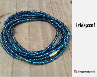 Chameleon Green - Waist beads, Waist chains, Beach jewelry, African beads - African jewelry