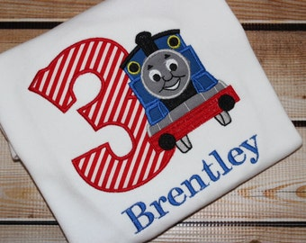 Personalized Train Birthday Shirt with Number Blue Train
