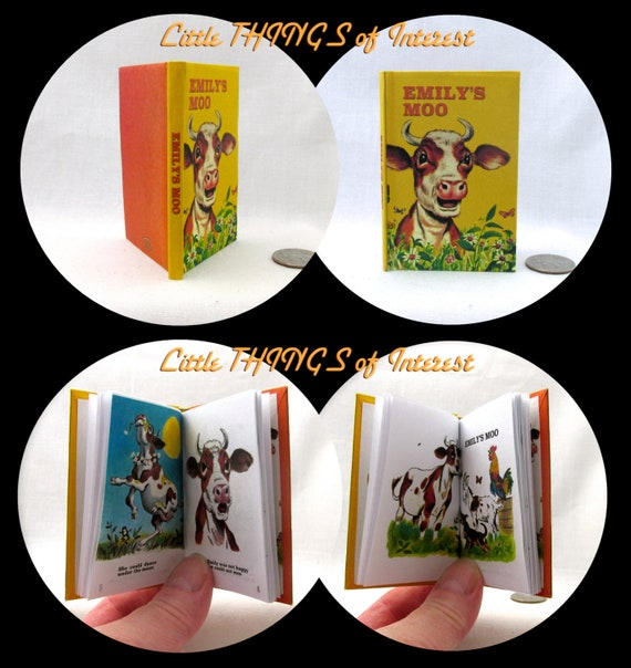 EMILY'S MOO Illustrated Book in 1:3 Scale Readable Doll Book American Girl Book 18 inch Doll 1/3 Scale Confidence Builder