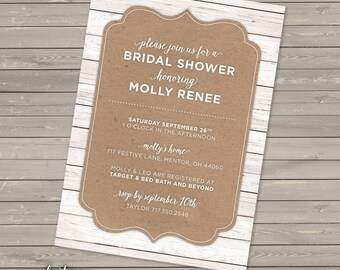 Rustic Bridal Shower Invitation DIGITAL | Couple's Shower | Wood Texture