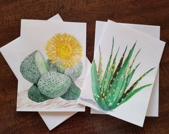 Succulent Variety Pack Folded Note Cards with Envelopes |Succulent Blank Note Cards | Handmade Greeting Cards | Water Color Set