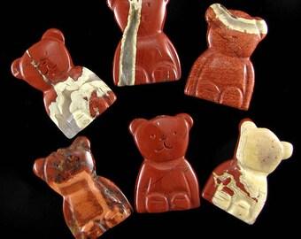 33mm red jasper carved teddy bear pendant bead 1pc 15044