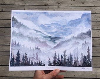 Misty Pines Watercolor Print | Watercolor Print | Watercolor Landscape | Painting | Landscape Painting