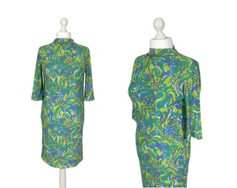 Psychedelic 1960's Dress | 1960's Vintage Dress | Blue Green Purple Multi Psych Print Dress | Medium