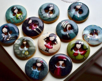 2 wooden doll buttons I Wooden buttons I Doll embellishments I Buttons I Doll printed buttons I Scrapbooking buttons I Button Embellishments