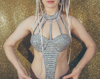 Silver holographic sequin bodysuit one-piece bikini - fairylove