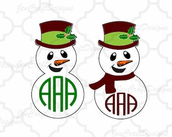 Snowman svg Monogram Frame SVG DXF Eps Png Monogram Frames Holiday Monogram Frame Cut File  Cricut Design Space, Silhouette Studio