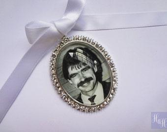 Stunning Rhinestone Oval Crystal Wedding Bouquet Photo Memory Charm