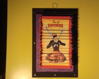 Retro Tarot Two of Swords Pin Sculpture