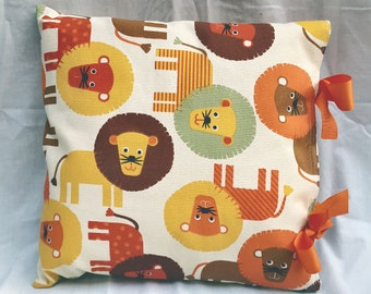 Natural, Orange, Yellow Multi Lion Print Handmade Ribbon Tie Cushion Cover Childs Room Nursery