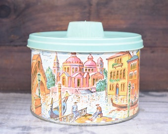 Candy Tin, Mrs Lelands, Butter Bits, Venice Italy, Venice Scene, Gondolas, Italy Scene, Green Lid, 1950s Tin, Lidded Tin, Decorative Tin
