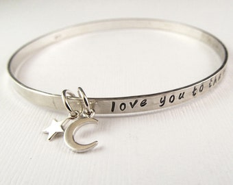 Love You to the Moon bangle, Valentine Gift, blessings bangle