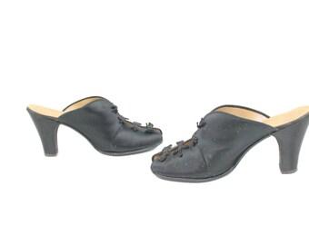 Vintage 40s Satin Slippers Boudoir Shoes Black Heels Pumps Daniel Green Womens Footwear 1940s Peep Toe Mules Size 5