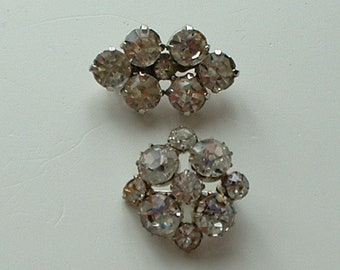 Vintage paste and a rhinestone brooch