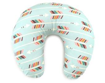 Nursing Pillow Cover Colorful Arrows on Mint. Nursing Pillow. Nursing Pillow Cover. Minky Nursing Pillow Cover. Arrow Nursing Pillow Cover.