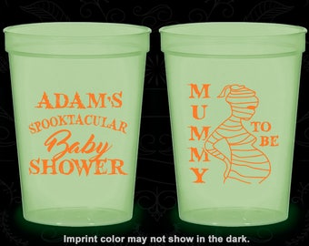 Halloween Baby Shower, Glow in the Dark Baby Shower Cups, Mummy to Be, Glow Baby Shower Party (90087)