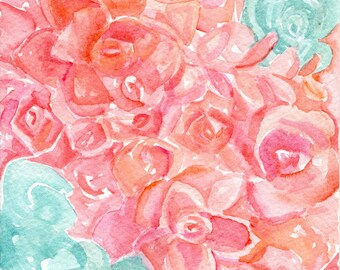 Original succulents Sedum Coral Watercolor Painting, minty home decor 5 x 7