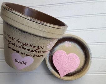 Large Planter - Animal Sympathy Gift - Dog Memorial Gift - Painted Flower Pot - Pet Memorial Planter - Cat Memorial Gift