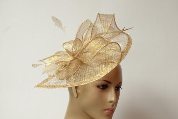 Gold Sinamay Fascinator On A Headband, Kentucky Derby Fascinator, Wedding, Church, Formal Hat, Dressy , Millinery, Cocktail Fascinator by Etsy