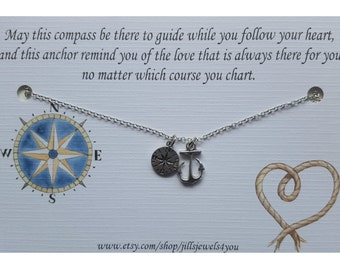 Graduation Gift, Inspirational Gift, Gift for Graduation, Graudation Necklace, Compass Anchor Necklace, Long distance friendship, Wanderlust