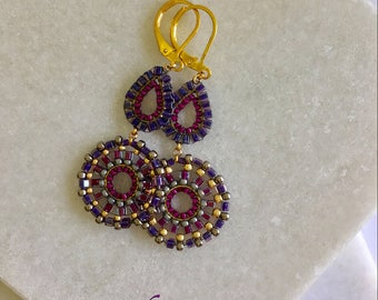 Statement Drop Dangle Brick stitched Lightweight Gold Purple Earrings- Gift for Her