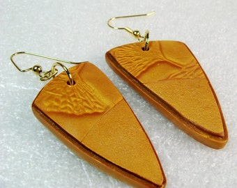 Handmade Gold Gingko Leaves Polymer Clay Earrings A, Gold Earrings, Jewelry, Gift for Her, Mom Gift, Polymer Clay Earrings