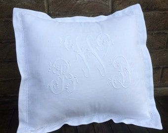 White Linen Monogram Pillow, 16 x 16  Personalized Machine Embroidery, Hemstitch Throw Bed Pillow, Scatter Cushion, Heirloom Wedding Gift