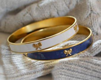 Preppy Bangle Bracelets, Navy Bangle Bracelet, Ivory Bangle Bracelet, Bow Bangle Bracelet, Bow Bracelets, Gold Bangle Bracelet, Bow Jewelry