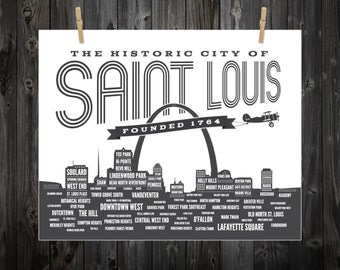 St. Louis Neighborhood Poster, Saint Louis, St. Louis, STL, St Louis Art, St Louis Print, St Louis Poster, St Louis Sign, St Louis Map