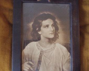 Boy Christ Print by Hoffman - Original Frame
