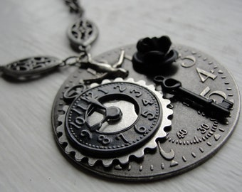 Black and Silver Steampunk Necklace