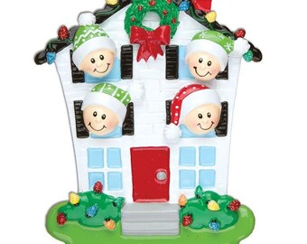House Family of 4 Personalized Christmas Ornaments - Personalized Names