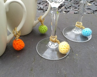 Weeny bobble tags - crocheted mug markers, wine glass charms, baubles, keyrings or bag charms.