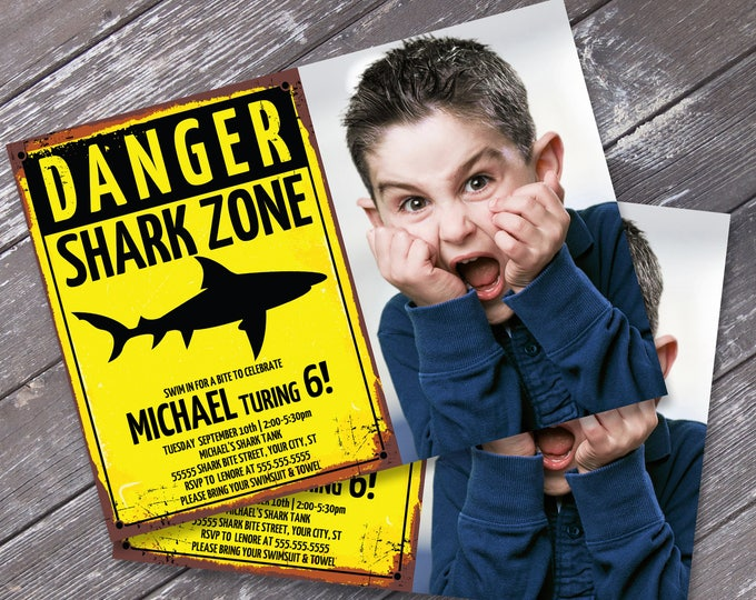 Shark Party Photo Invitation - Shark Birthday Party, Shark Zone Invite, Invitation with Editable Text | DIY INSTANT Download PDF Printable